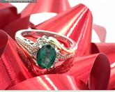 10K/925 LADY'S CREATED EMERALD RING WITH DIAMOND ACCENT SZ6.5 2.9G